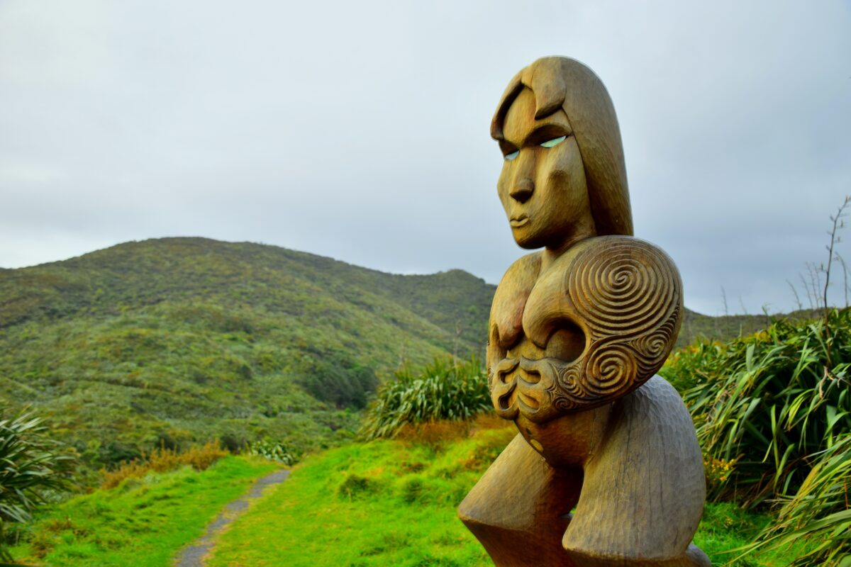 brown wooden human face sculpture on green grass field