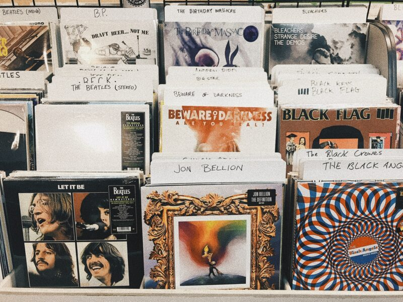 pile of assorted-title vinyl album record sleeves