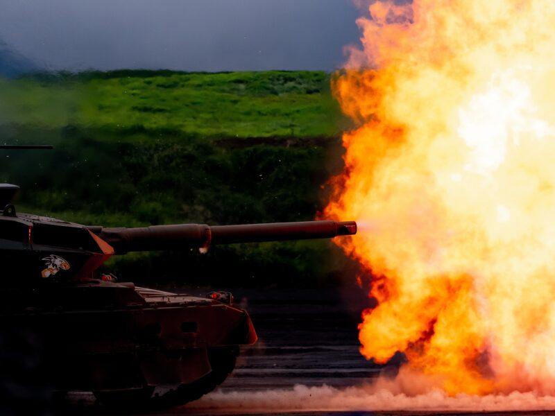 battle tank blowing fire
